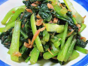 小松菜と桜エビの炒め物