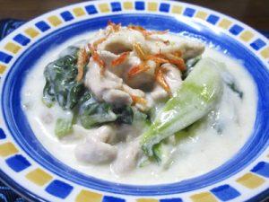 青梗菜と豚肉のクリーム煮