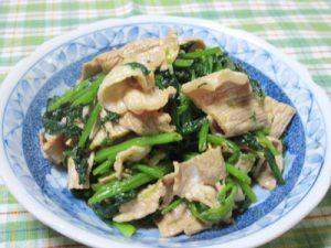 小松菜と豚肉のからしあえ